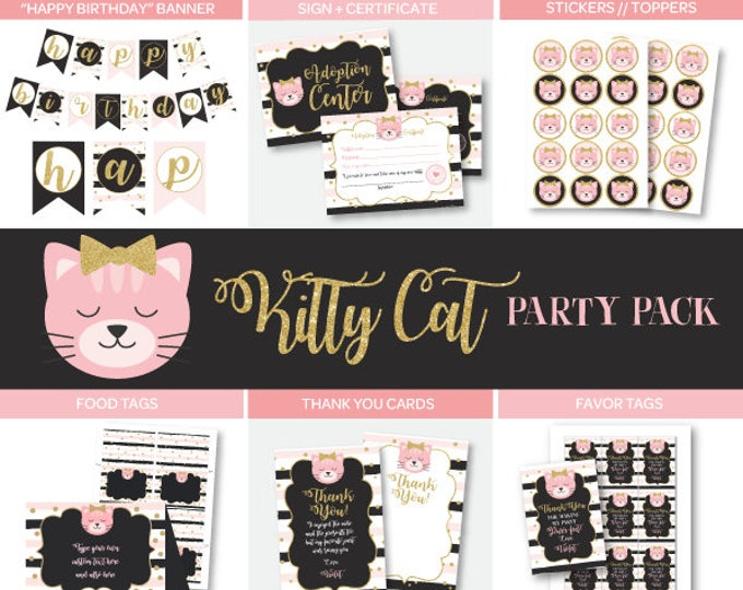 Kitty Birthday Party, Pet Adoption Birthday Party Package, Kitty Birthday Decorations, Instant download