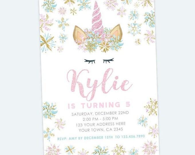 Unicorn Birthday Invitation, Snowflake Winter Birthday Party, Winter Wonderland Invitation, Personalized DIGITAL Invitations
