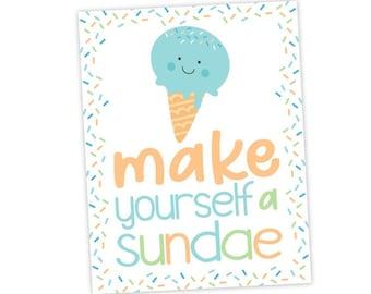 Ice Cream Bar Sign, Sundae Bar Sign, Ice Cream Birthday Party, Ice Cream Decorations, INSTANT DOWNLOAD