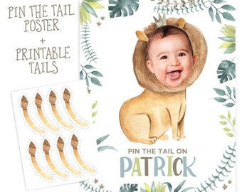 Pin The Tail Game, Jungle Birthday Party, Wild One Party Decorations, Lion Party Game, Safari Birthday, Pin the Tail, DIGITAL Personalized