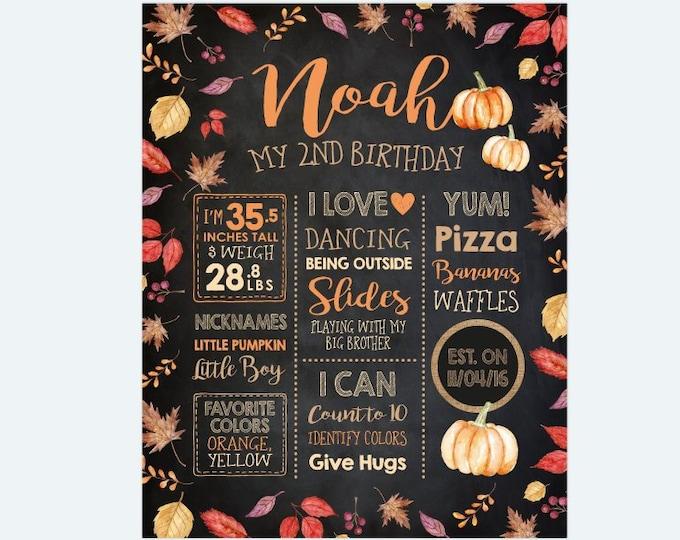 Little Pumpkin Birthday Board, 2nd Birthday Milestones Birthday Sign, Little Pumpkin Stats Poster, Any Age, Personalized Printable, DIGITAL
