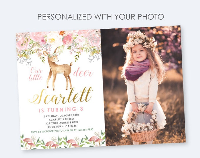 Deer Birthday Invitation with Photo, Enchanted Forest Birthday Party, Woodland Invite, Any age DIGITAL personalized invites, 2 Options