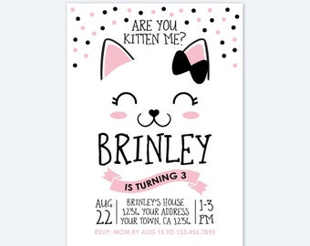 Kitty Birthday Invitation Cat Party Are You Kitten Me Personalized Digital