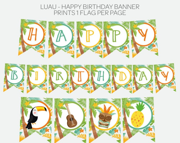 Luau Birthday Banner, Hawaiian Party Printable Happy Birthday Banner, Summer Party, Printable Digital, Instant Download