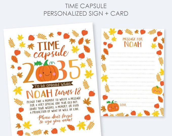 Little Pumpkin Time Capsule, Personalized sign + card, Little Pumpkin 1st Birthday, Personalized Printable Time Capsule, DIGITAL