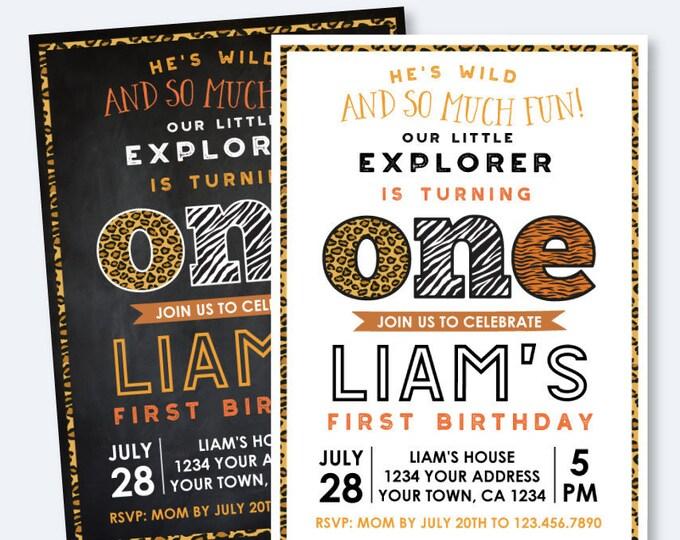 Safari First Birthday invitation, Animal Print Invitation, Jungle Invitation, Wild animals Party, ANY AGE, Personalized Digital Invitation