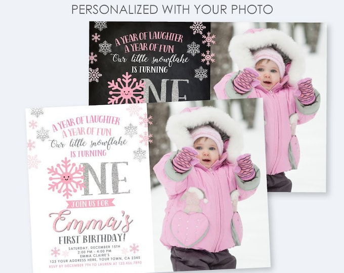 Winter Onederland Invitation with photo, Little snowflake Birthday Party, Winter Birthday Invites, DIGITAL Personalized Invite