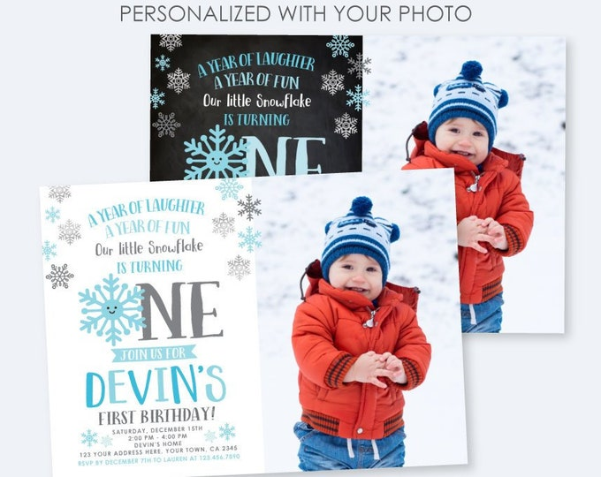 Winter Onederland Invitation with photo, Little snowflake Birthday Party, Boy Birthday Party, DIGITAL Personalized Invite