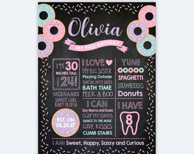Donut Chalkboard Sign, Milestones Birthday Board, Donut Stats Birthday Poster, Any Age, Personalized Printable Board, DIGITAL