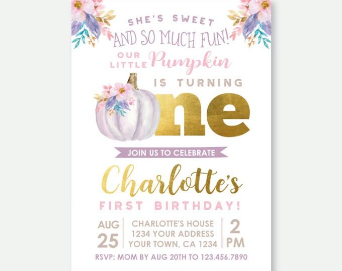 Little Pumpkin First Birthday Invitation, Fall First Birthday, Girl Invitation, Floral Birthday Party, Personalized Digital Invite