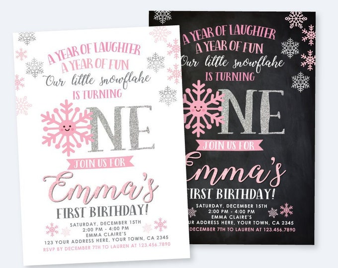 Onederland Invitation, Little snowflake First Birthday Party, Girl Birthday Party, DIGITAL Personalized Invite, 2 Options