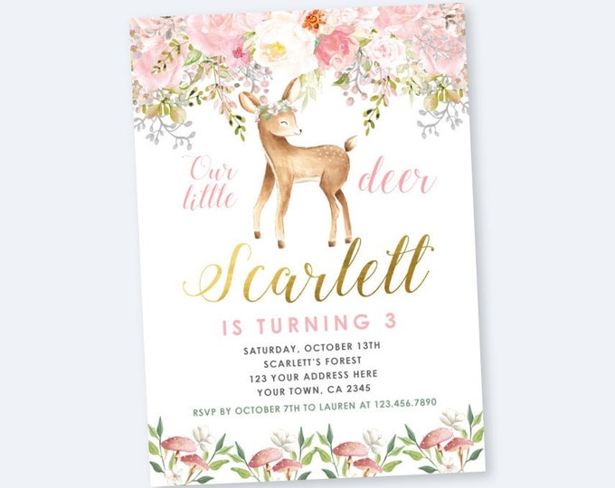 Deer Birthday Invitation, Fawn Invitation, Enchanted Forest Birthday Party, Woodland Invite, Any age DIGITAL personalized invites, 2 Options