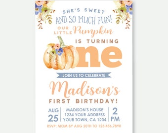 Little Pumpkin First Birthday Invitation, Fall First Birthday, Girl Invitation, Floral Birthday Party, Cute Personalized Digital Invite