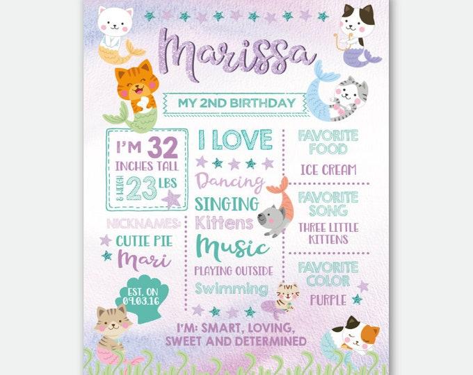 Meowmaid Birthday Board, Mermaid Milestones Sign, Kitten Birthday Party, Pool Birthday Party, Personalized Digital Stats Board