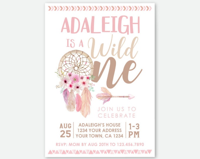 Wild One Birthday Girl Invitation, Dream catcher First Birthday, Wild One Girl Invitation, Tribal Invite, Personalized Digital Invite