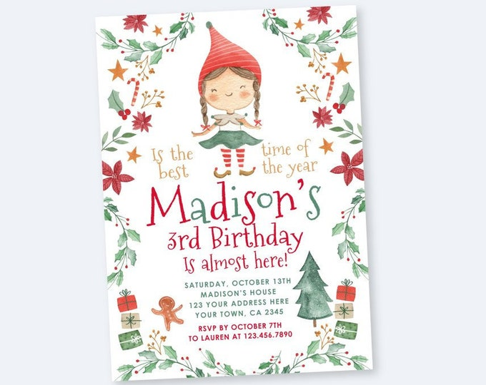 Christmas birthday party Invitation, Elf Birthday Invitation, Personalized DIGITAL Printable Christmas Invite