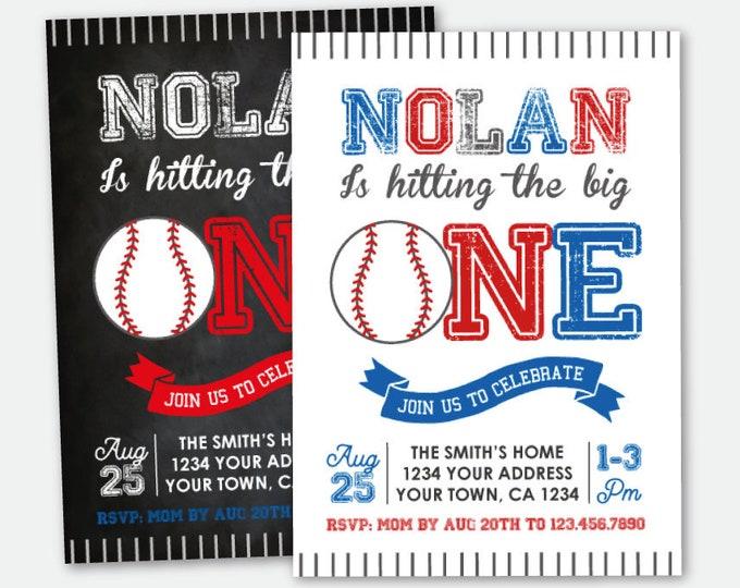 Baseball First Birthday Invitation, Baseball ONE Invitation, Sport Invitation, Baseball Party, Personalized Printable Invite, 2 Options