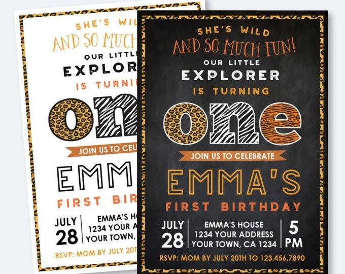 Safari First Birthday invitation, Animal Print Invitation, Explorer Invitation, Wild animals Party, ANY AGE, Personalized Digital Invitation