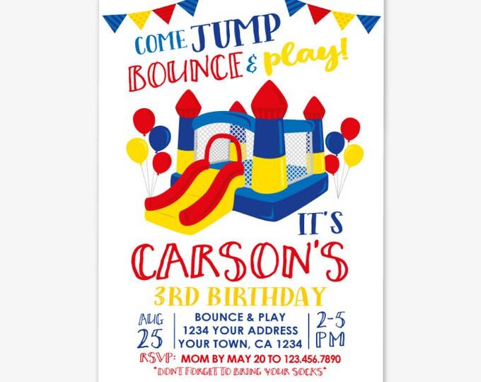 Jump Invitation, Bounce House Birthday Invitation, Trampoline Invitation, Primary Colors, Jump Party, Personalized Printable DIGITAL Invite