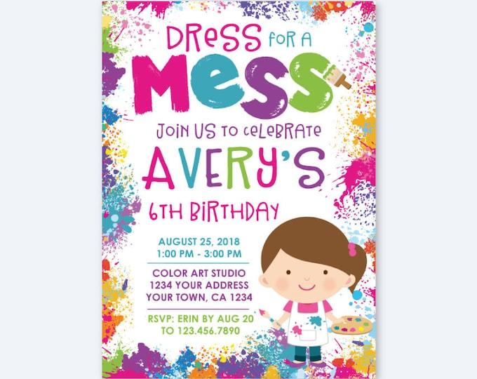 Painting Party Invitation, Art Birthday Party, Paint Party Invites, Painting Party, Artist Personalized Digital Printable Invitations