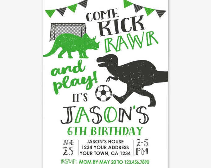Dinosaur and Soccer Birthday Invitation, Soccer Birthday, Sports Birthday Party, Dinosaur Birthday, Personalized Printable DIGITAL Invite
