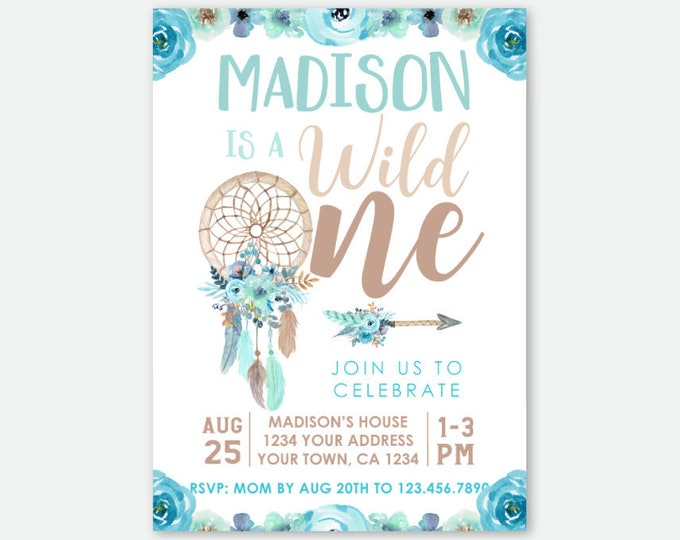 Wild One Girl Invitation, Blue Dream catcher First Birthday, Wild One Girl Birthday Party, Tribal Invite, Personalized Digital Invite