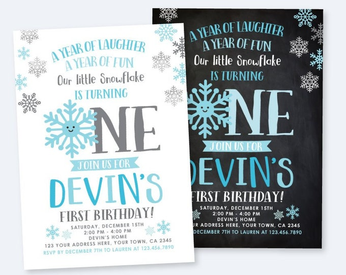 Onederland Invitation, Little snowflake First Birthday Party, Boy Birthday Party, DIGITAL Personalized Invite