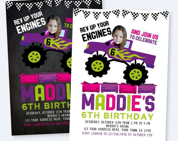 Monster Truck Birthday Invitation with Photo, Monster Truck Party, Race Car Invitation, DIGITAL personalized invites, 2 Options
