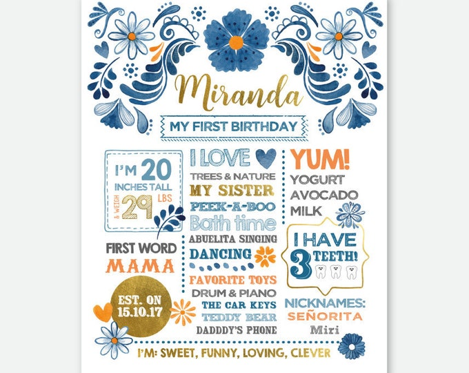 Fiesta Birthday Sign, Milestones Poster, First Birthday Board, Stats Birthday Poster, Any Age, Personalized Digital Printable Board