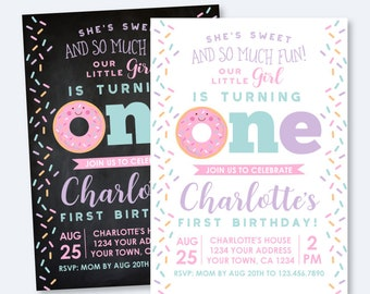 Donut First Birthday Invitation, Sprinkles Birthday Invitation, Girl Birthday Party, 1st Birthday Invite, Personalized Invitation, 2 options