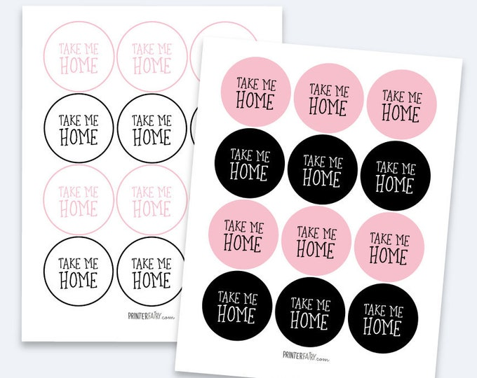 Kitten Favor Tags, Take me Home Tags, Kitty Cat Birthday Party, Pet adoption party, Black and Pink, INSTANT DOWNLOAD
