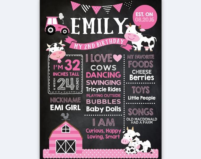 Cow Chalkboard Sign, Milestones Birthday Sign, Farm Stats Birthday Poster, Any Age, Farm Animals Personalized Printable Board, DIGITAL