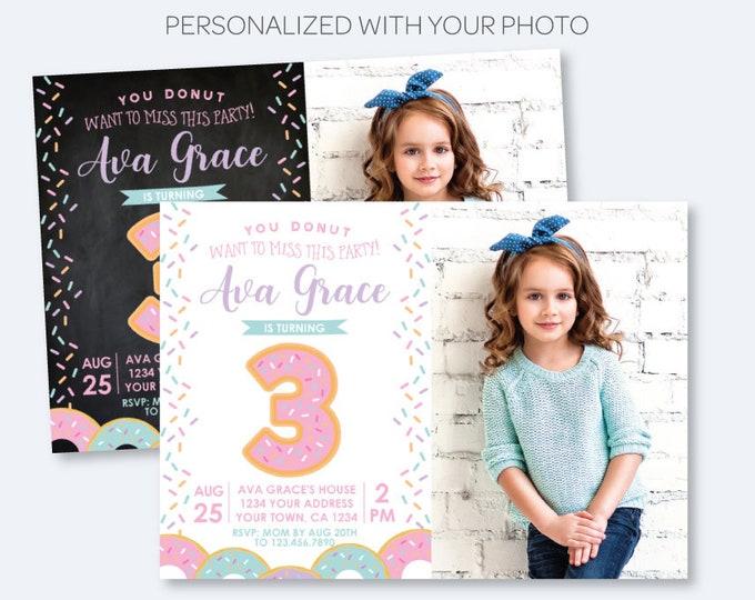 Donut Birthday Invitation with Photo, ANY AGE, Sprinkles Birthday Party, Birthday Girl Invite, Personalized Invitation, 2 options
