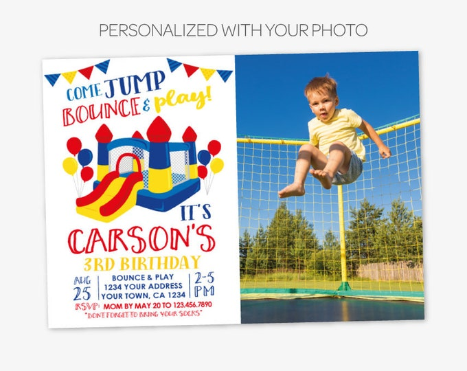 Jump Invitation with Picture, Bounce House Invitation, Trampoline Birthday with Photo, Jump Party, Personalized Printable DIGITAL Invite