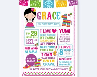 Fiesta Girl Birthday Board, Milestones Birthday Sign, Fiesta Stats Poster, Any Age, Personalized Printable Board, DIGITAL