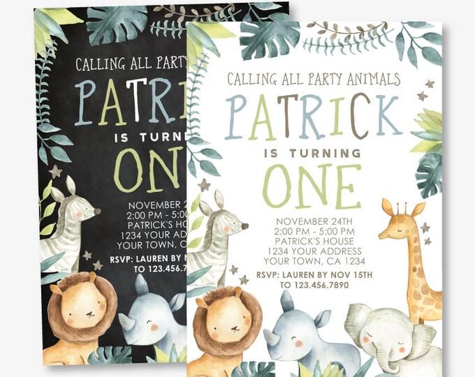 Safari First Birthday Invitation, Jungle Invitation, ANY AGE, Zoo Birthday Party, Wild One Invite, Personalized DIGITAL Invite, 2 Options