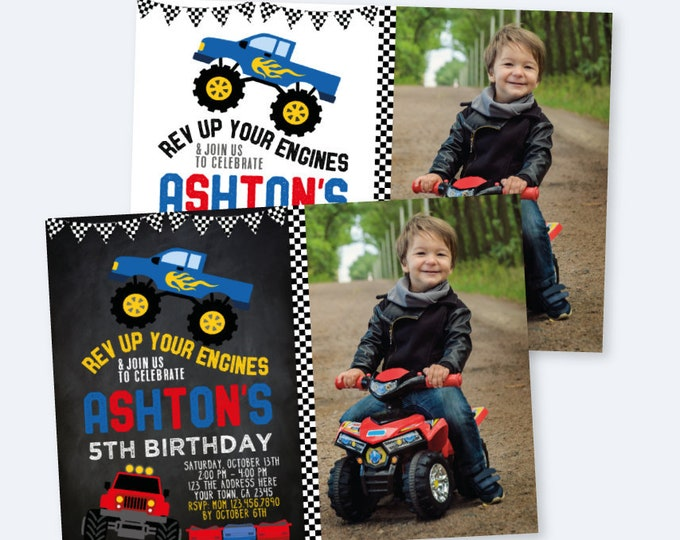 Monster Truck Birthday Invitation with Photo, Monster Truck Birthday Party, Race Car Invitation, DIGITAL personalized invites, 2 Options