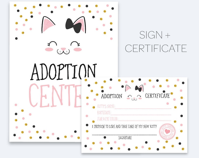 Kitten Adoption Party, Pet Adoption Party, Sign and adoption certificate, Kitty cat Adoption Party, Gold, pink and black, INSTANT DOWNLOAD
