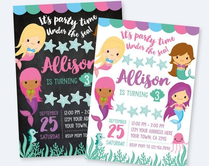 Mermaid invitation, mermaid birthday, mermaid party, Little mermaid invites, Under the sea party, Digital invitation, 2 Options
