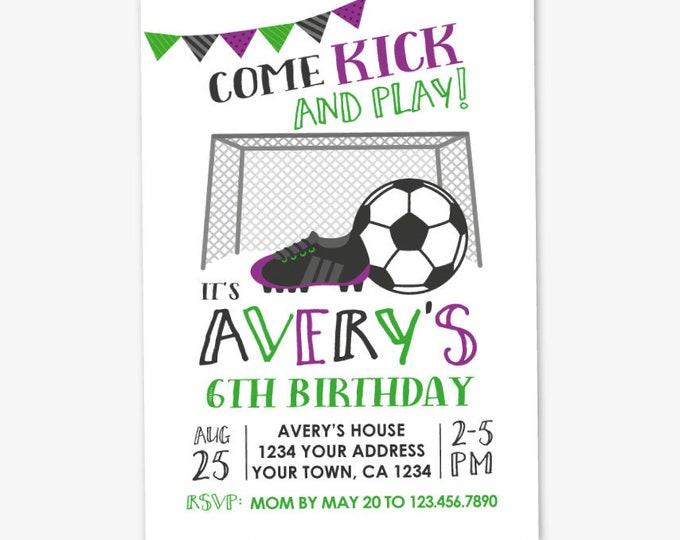 Soccer Girl Invitation, Soccer Birthday, Sports Invitation, Soccer Birthday, Sports Party, Personalized Printable DIGITAL Invite
