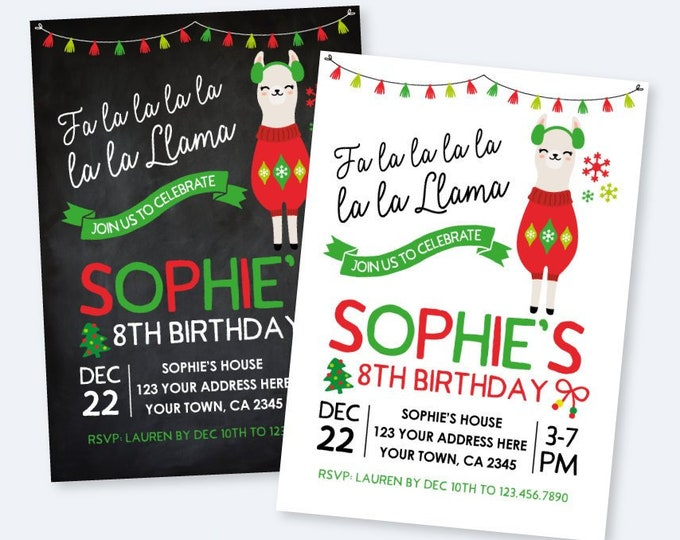 Llama Invitation, Ugly Sweater Birthday Invitation, Christmas Birthday Party, Personalized Printable Invite, 2 Options, DIGITAL