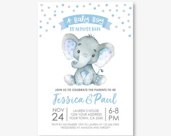 Elephant Baby Shower Invitation, Boy Baby Shower, Jungle Safari Baby Shower Invitation, Polkadots, Personalized Digital Invite