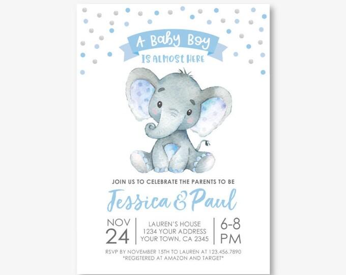 Elephant Baby Shower Invitation, Boy Baby Shower, Jungle Safari Baby Shower Invitation, Polkadots, Personalized Digital Invite