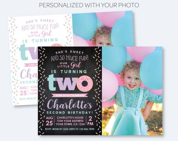 Donut 2nd Birthday Invitation with Photo, Sprinkles Birthday Party, Second Birthday Girl Invite, Personalized Invitation, 2 options