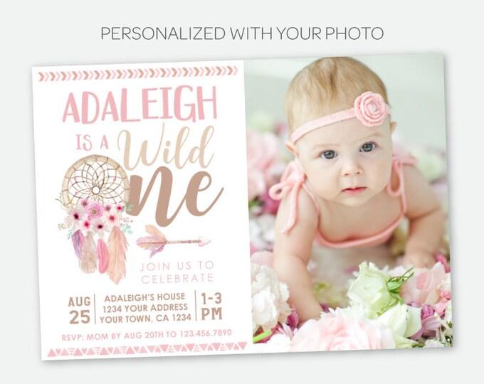Wild One Birthday Girl Invitation with Photo, Dream catcher First Birthday, Wild One Girl Invitation, Tribal, Personalized Digital Invite