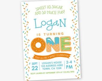 Sprinkles First Birthday Invitation, Sweets Birthday Invitation, Boy Birthday Party, 1st Birthday, Personalized Invitation, 2 options