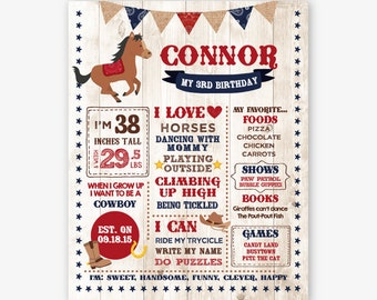Horse Milestones Board, ANY AGE, Cowboy Birthday Party, Chalkboard Sign, Western Party Decorations, Personalized Digital Board
