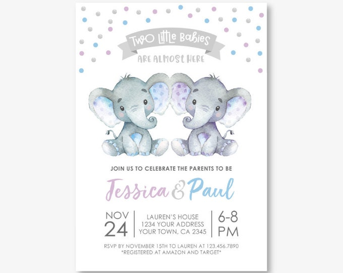 Elephant Twins Baby Shower Invitation, Girl & Boy Baby Shower, Jungle Safari Baby Shower Invitation, Polkadots, Personalized Digital Invite