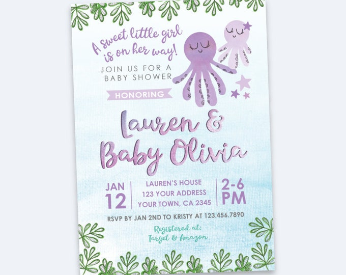 Under the Sea Baby Shower Invitation, Ocean Baby Shower, Octopus, Under the Sea Party, Girl Baby Shower, Personalized Digital Invitation