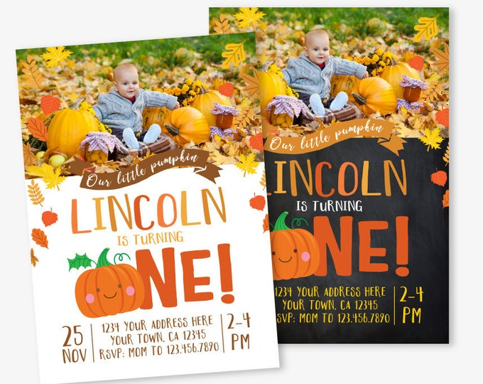 Little Pumpkin First Birthday Invitation with Horizontal Photo, Pumpkin Invitation, Autumn Birthday, DIGITAL personalized invites, 2 Options